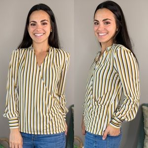 Adrianna Papell Yellow White Black Striped Top